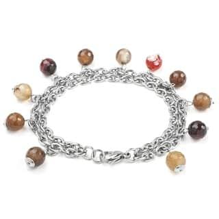 ELYA Stainless Steel Agate Bead Bracelet|https://ak1.ostkcdn.com/images/products/8307128/P15623440.jpg?impolicy=medium