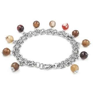 ELYA Stainless Steel Agate Bead Bracelet (2 options available)