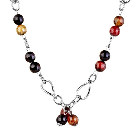 ELYA Natural Agate Stone Cluster Stainless Steel Necklace