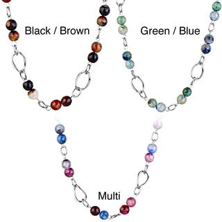 ELYA Stainless Steel Natural Agate Stone Link Necklace