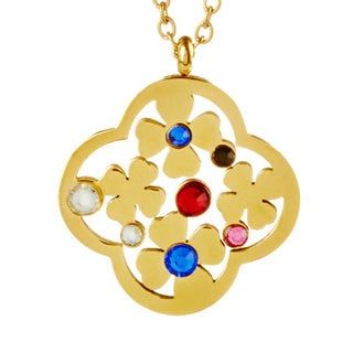 ELYA Goldplated Steel Multi-colored Crystal Flower Necklace