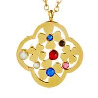 ELYA Goldplated Steel Multi-colored Crystal Flower Necklace