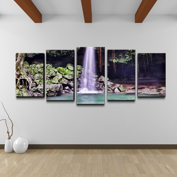 shop chris doherty 39 waterfall 39 5 piece gallery wrapped canvas wall art set on sale free. Black Bedroom Furniture Sets. Home Design Ideas