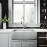 VIGO 30-inch Camden Stainless Steel Farmhouse Sink, Edison Faucet Set