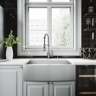 VIGO Camden Stainless Steel Kitchen Sink Set with Edison Faucet