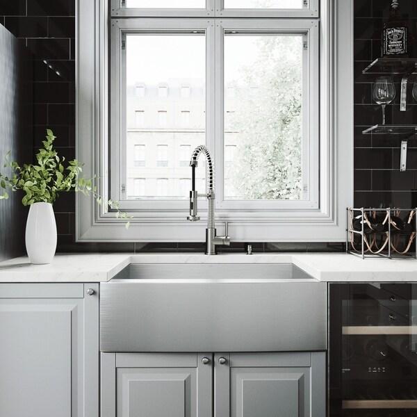 Gentil VIGO 30 Inch Camden Stainless Steel Farmhouse Sink, Edison Faucet Set