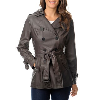 Hawke & Co Women's Dark Taupe Leatherette Grommet Trench Coat
