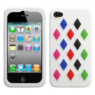INSTEN White Module Skin Phone Case Cover with Black Sides for Apple iPhone 4/ 4S