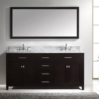 Caroline 72-inch Double Vanity White Marble Top Round Sink Mirror