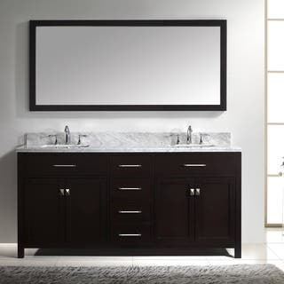 Virtu Usa Caroline 72 Inch Double White Marble Sink Bathroom Vanity Set