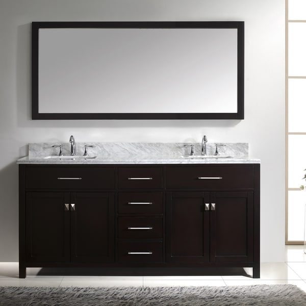 Virtu usa caroline 72 inch double white marble sink bathroom vanity set free shipping today for Caroline 60 inch double sink bathroom vanity set