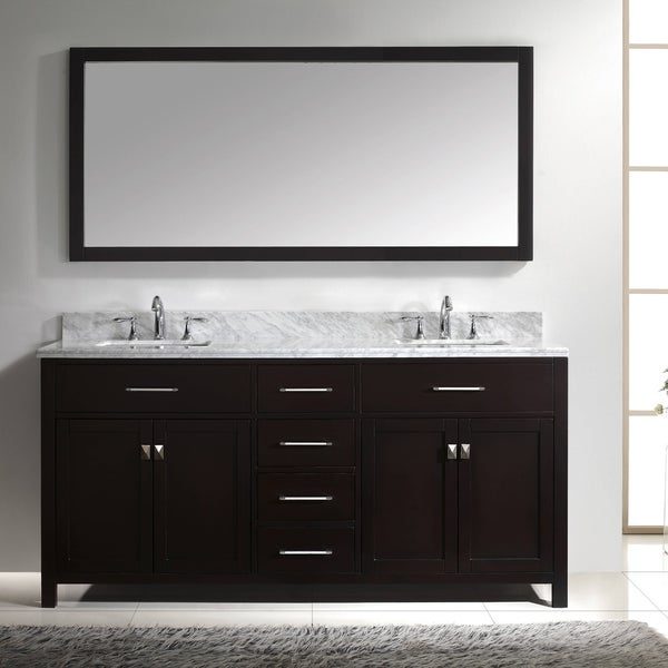 Caroline 72 Inch Double Vanity White Marble Top Round Sink Mirror Free Shipping Today