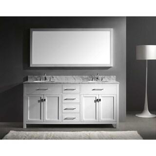 Virtu USA Caroline 72-inch Double White Marble Sink Bathroom Vanity Set (4 options available)