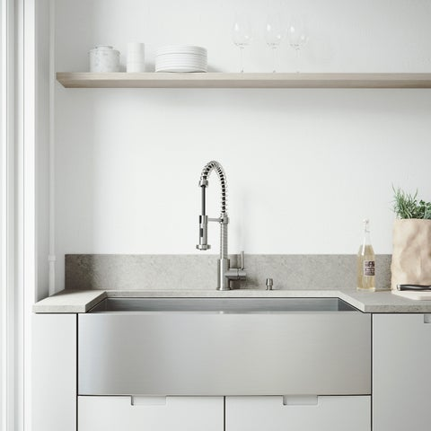 """VIGO All-In-One 36"""" Camden Stainless Steel Farmhouse Kitchen Sink Set With Edison Faucet In Stainless Steel"""