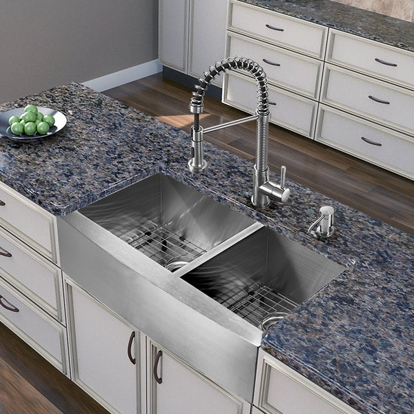 36 Inch Farm Sink : ... 36-inch Farmhouse Stainless Steel Double Bowl Kitchen Sink and Faucet
