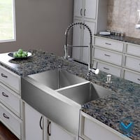 "VIGO All-In-One 36"" Bingham Stainless Steel Double Bowl Farmhouse Kitchen Sink Set With Edison Faucet In Chrome"