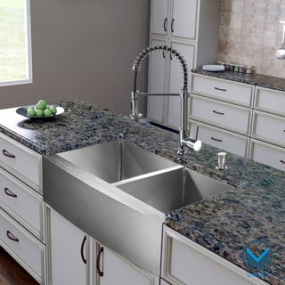 VIGO All-In-One 36 Bingham Stainless Steel Double Bowl Farmhouse Kitchen Sink Set With Edison Faucet In Chrome