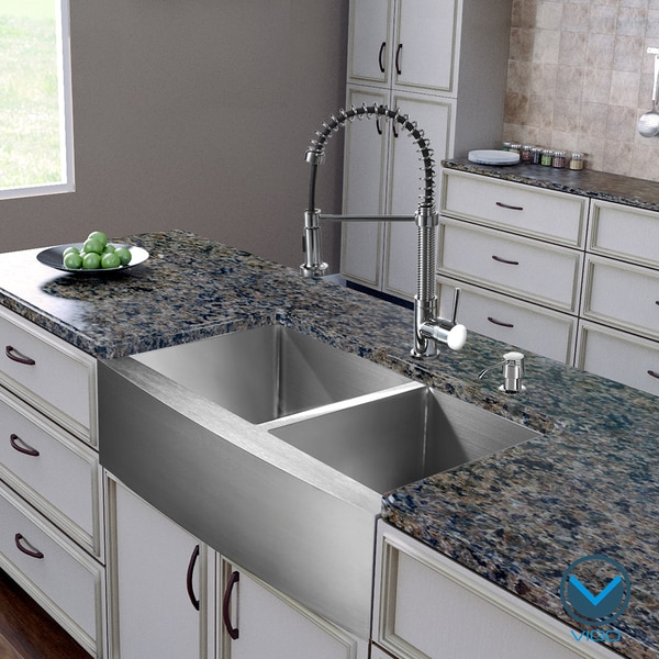 """25 Farm Sink Of Kitchen Lowes Double Chrome Kitchen Sink: VIGO All-In-One 36"""" Bingham Stainless Steel Double Bowl"""