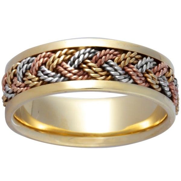7512a2b7883c0 Shop 14k Tri-Color Gold Design Comfort Fit Men's Wedding Bands ...