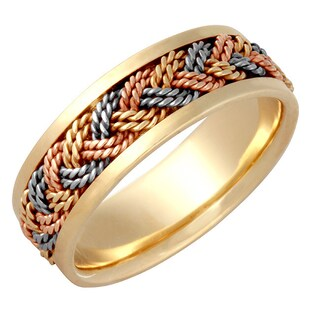 14k Tri-color Gold Men's Comfort-fit Handmade Wedding Band (More options available)