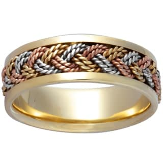 14k Tri-color Gold Men's Comfort-fit Handmade Wedding Band