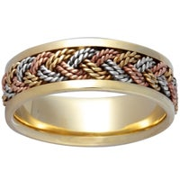 14k Tri Color Gold Men S Comfort Fit Handmade Wedding Band