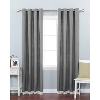 Aurora Home Faux Linen Grommet Top Border Detail 84-inch Curtain Panel Pair