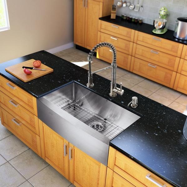 Stainless Steel Farmhouse Sink 33 : KRAUS 30 Inch Farmhouse Single Bowl Stainless Steel Kitchen Sink with ...