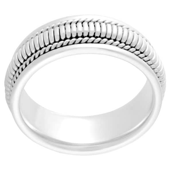 7mm Brushed and Polished Twist Design Comfort Fit Wedding Band