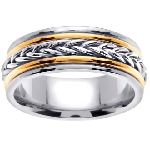 14k Two-Tone Gold Braid Design Comfort Fit Men's Wedding Bands - White