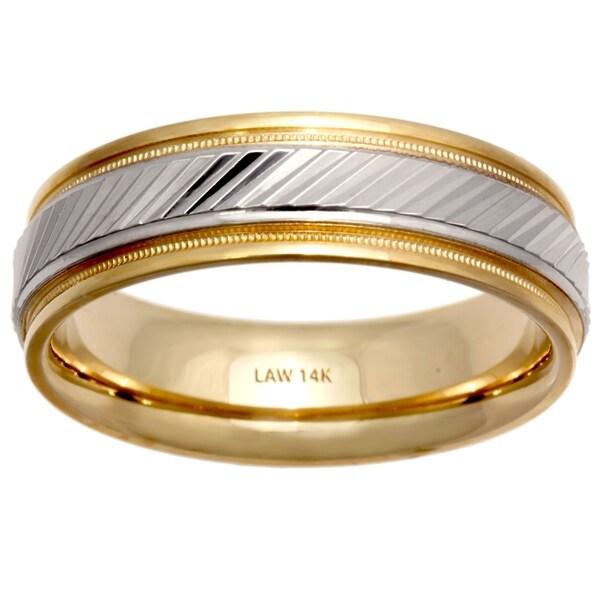 0c980e9d3a689 Shop 14k Two-Tone Gold Ridge Center Comfort Fit Men's Wedding Bands ...