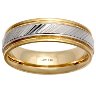 14k Two-tone Gold Men's Comfort-fit Ridge Wedding Band