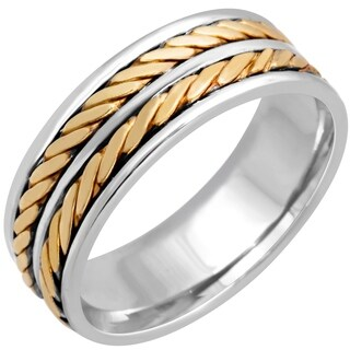14k Two-tone Gold Men's Comfort-fit Dual Rope Wedding Band
