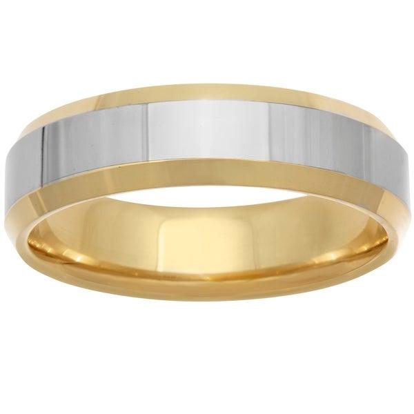 14k Two-Tone Gold Plain Beveled Edge Design Comfort Fit Men's Wedding Bands - White
