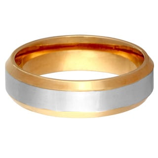 14k Two-tone Gold Men's Comfort-fit High Polished Wedding Band