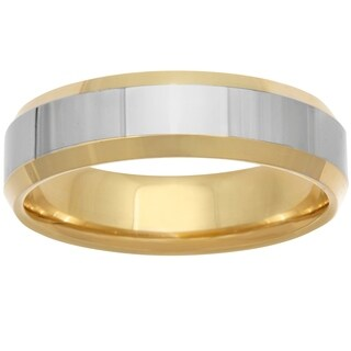 14k Two-tone Gold Men's Comfort-fit High Polished Wedding Band (More options available)