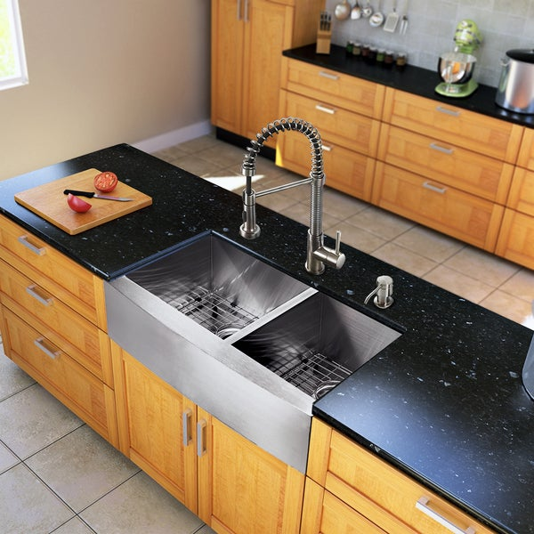 Vigo All In One 33 Inch Farmhouse Stainless Steel Double Bowl Kitchen Sink And Faucet Set Free