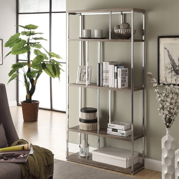 dark taupe reclaimed look chrome metal bookcase free shipping today 15623638. Black Bedroom Furniture Sets. Home Design Ideas