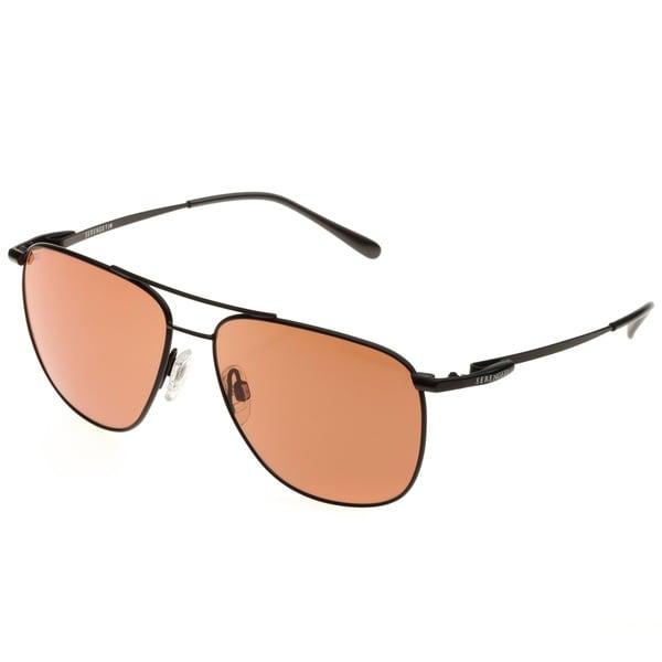 2e612a53d3b26 Shop Serengeti Men s  Marco  Satin Black Aviator Sunglasses - Free ...