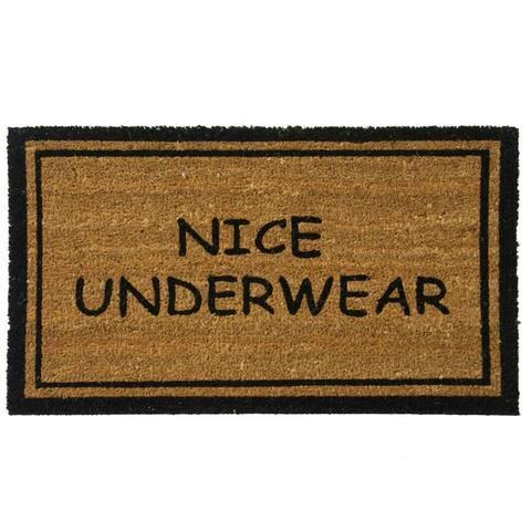 Rubber-Cal 'Nice Underwear Funny Doormat' Coconut Mat (18 x 30) - 18 x 30