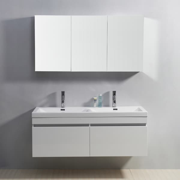 Shop virtu usa zuri 55 inch double sink vanity free - 52 inch bathroom vanity double sink ...