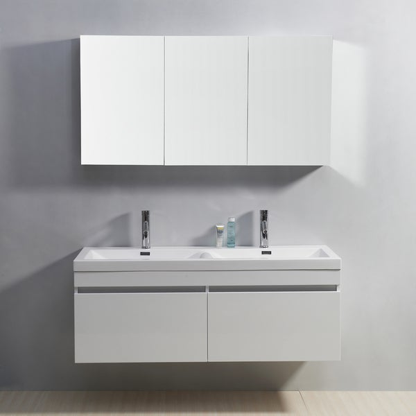 Virtu usa zuri 55 inch double sink vanity free shipping today overstock 15623688 for 55 inch double sink bathroom vanity