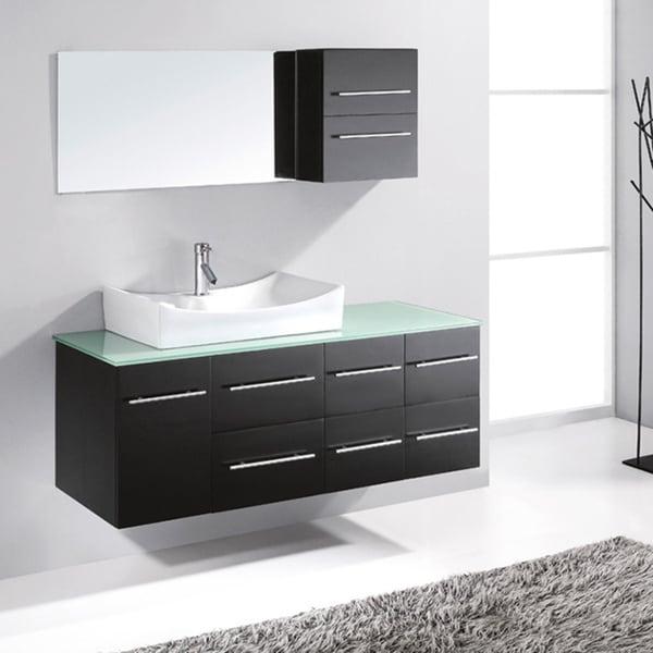 shop virtu usa ceanna 54 inch single sink bathroom vanity set free shipping today overstock. Black Bedroom Furniture Sets. Home Design Ideas
