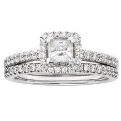 Sofia 14k White Gold 1ct TDW Certified Diamond Princess Cut Halo Bridal Set (H-I, I1)
