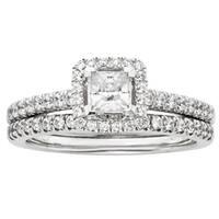 Sofia 14k White Gold 1ct TDW IGL Certified Diamond Princess Cut Halo Bridal Set