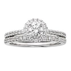 Sofia 14k White Gold 1ct TDW IGL Certified Diamond Halo Bridal Ring Set