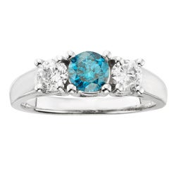 Sofia 14k Gold 1ct TDW Certified Three Stone Blue and White Diamond Ring (H-I, I1-I2)