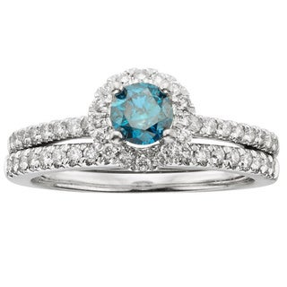 Sofia 14k White Gold 1ct TDW IGL Certified Blue Diamond Halo Bridal Set