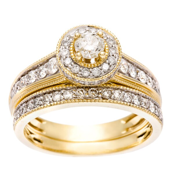 Sofia 14k Yellow Gold 1ct TDW Certified Diamond Halo Bridal Set (H-I, I1-I2)
