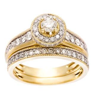 Sofia 14k Yellow Gold 1ct TDW IGL Certified Diamond Halo Bridal Set